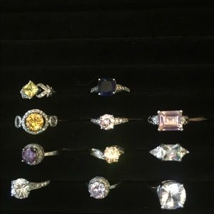 11 silver rings with case